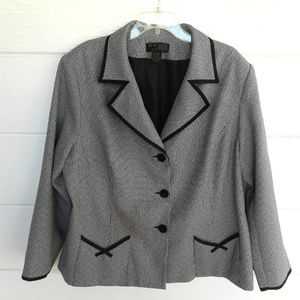 Gray Black Trim Blazer Jacket Pockets Career 24 W